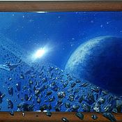Картины и панно handmade. Livemaster - original item The copyright of 3D picture In the Asteroid belt. Handmade.