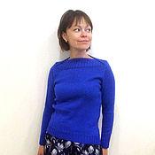 Одежда ручной работы. Ярмарка Мастеров - ручная работа Синий джемпер с вырезом лодочкой. Handmade.