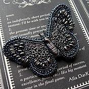 """Украшения ручной работы. Ярмарка Мастеров - ручная работа Брошь вышитая бисером """"Сумеречная бабочка"""" с жемчугом бива. Handmade."""