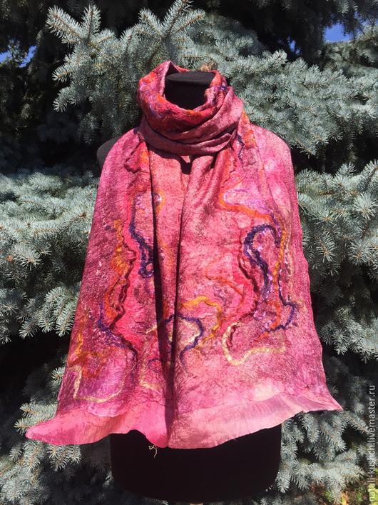 Шарфы и шарфики ручной работы. Ярмарка Мастеров - ручная работа. Купить Валяный шарфик бордового оттенка. Handmade. Бордовый
