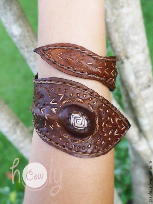"""Браслеты ручной работы. Ярмарка Мастеров - ручная работа. Купить Оригинальный кожаный браслет """"Hippie Life"""". Handmade. Браслет"""