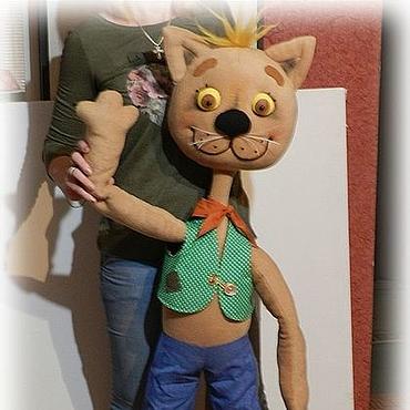 Куклы и игрушки ручной работы. Ярмарка Мастеров - ручная работа Кукольный театр.Напольная кукла Кот. Handmade.