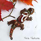 Украшения handmade. Livemaster - original item The Salamander brooch with stones and beads. Handmade.