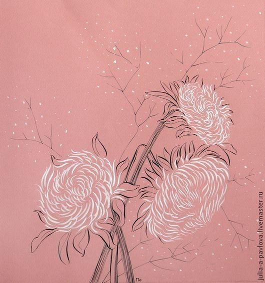 Картины цветов ручной работы. Ярмарка Мастеров - ручная работа. Купить Картина Хризантемы картина в интерьер европейский стиль. Handmade.