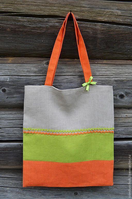 """Сумки и аксессуары ручной работы. Ярмарка Мастеров - ручная работа. Купить Летняя эко-сумка """"Оранжевое настроение"""" (100 % лен). Handmade."""