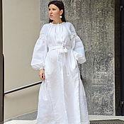 Одежда handmade. Livemaster - original item Maxi Dress Linen White evening dress embroidered Vyshyvanka. Handmade.