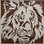 Картины ручной работы. Ярмарка Мастеров - ручная работа Картина Лев  в технике  цзяньчжи  25х25см.. Handmade.