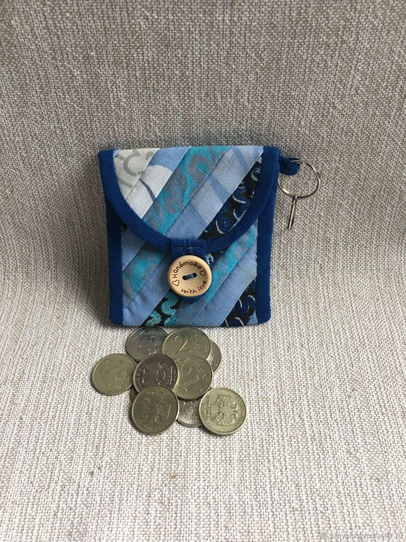 Брелок кошелек для монет лоскутный синий, Кошельки, Москва,  Фото №1