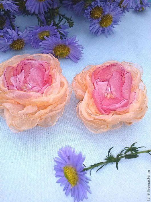 Детская бижутерия ручной работы. Ярмарка Мастеров - ручная работа. Купить розы текстильные. Handmade. Розовый, роза для волос