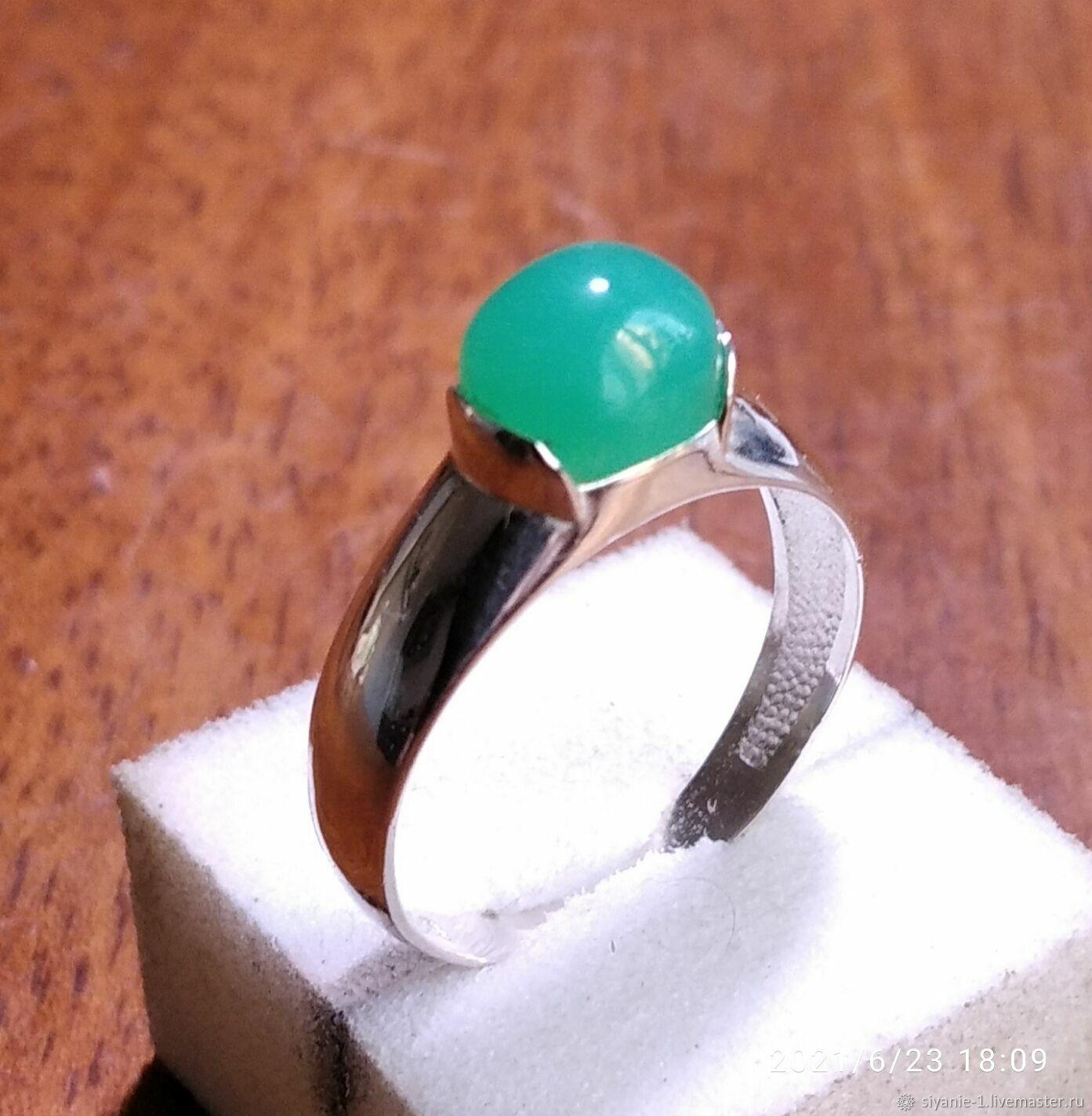Серебряное кольцо с натуральным хризопразом, Кольца, Кострома,  Фото №1