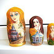 Подарки к праздникам handmade. Livemaster - original item Matryoshka portrait custom gift white yellow. Handmade.
