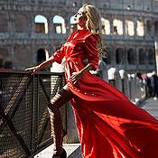 Одежда handmade. Livemaster - original item Red floor-length dress. Handmade.