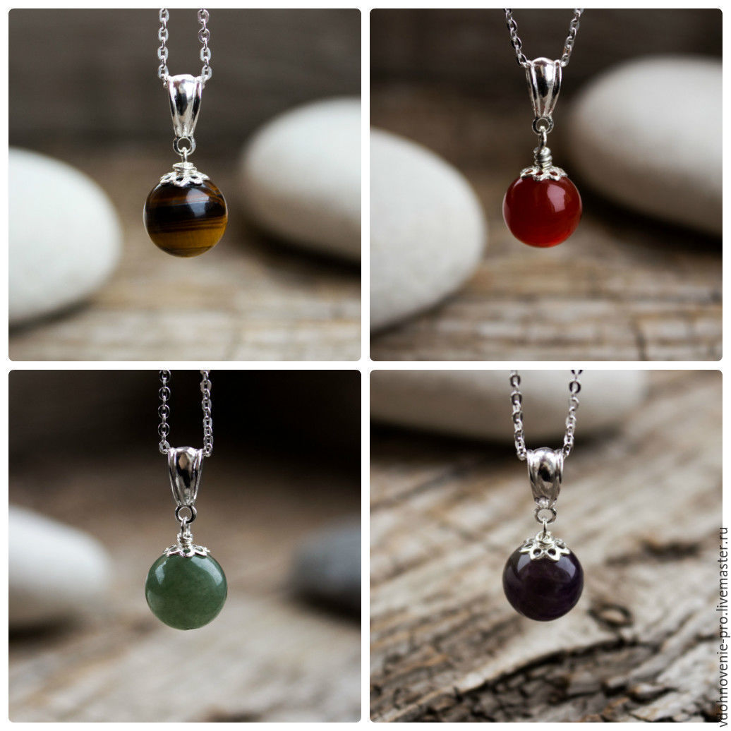 Silver pendant with natural stones 925 sterling silver, Pendants, Yaroslavl,  Фото №1