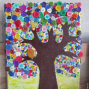 """Картины и панно ручной работы. Ярмарка Мастеров - ручная работа дерево из пуговиц """"Позитив"""". Handmade."""