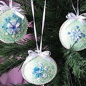 Подарки к праздникам ручной работы. Ярмарка Мастеров - ручная работа Украшение новогоднее вышивка лентами. Handmade.