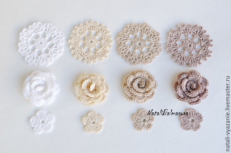 A set of knitted flowers in openwork, Flowers, Sosnovyj Bor,  Фото №1