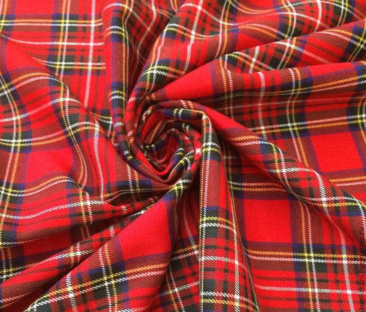 Шитье ручной работы. Ярмарка Мастеров - ручная работа. Купить Шотландка красная (клетка 5см). Handmade. Шотландка, ярко-красный