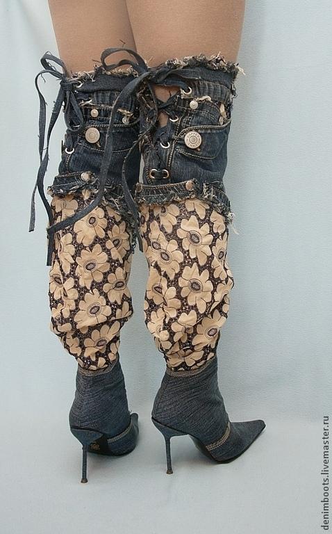 Обувь ручной работы. Ярмарка Мастеров - ручная работа. Купить Ботфорты джинсовые с кружевом. Handmade. Тёмно-синий, джинса