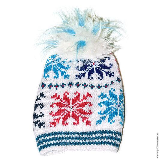 """Шапка с помпоном """"Норвежские звезды"""" (05-38) Hat with pompon """"Norway Stars"""" (05-38) Длинна (до очень прикольного помпона) 32 см, 1 шт. Цена 2800 руб. (36 EUR)"""
