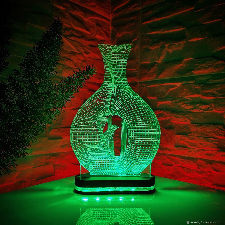 Night light 'Vase with a Bird' / Lamp / 3D night light, Vases, Yaroslavl, Фото №1