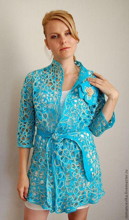 """Пиджаки, жакеты ручной работы. Ярмарка Мастеров - ручная работа. Купить жакет с рукавом 3/4 """"Сobweb  turquoise 2"""". Handmade."""