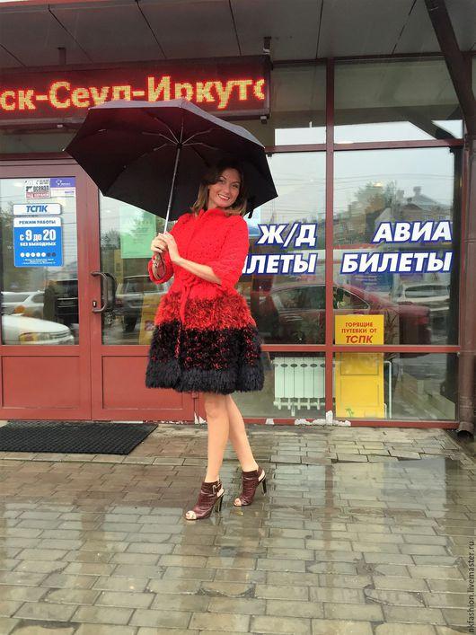 Верхняя одежда ручной работы. Ярмарка Мастеров - ручная работа. Купить Пальто вязаное Красное. Handmade. Кардиган, пальто