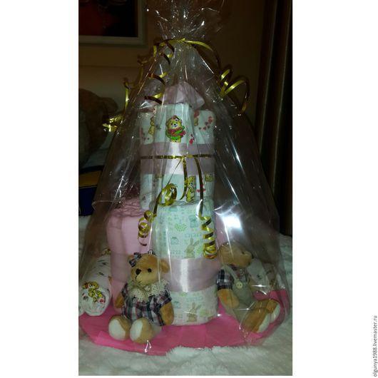 Подарки для новорожденных, ручной работы. Ярмарка Мастеров - ручная работа. Купить Торт из пеленок. Handmade. Бледно-розовый, новорожденному, пеленки