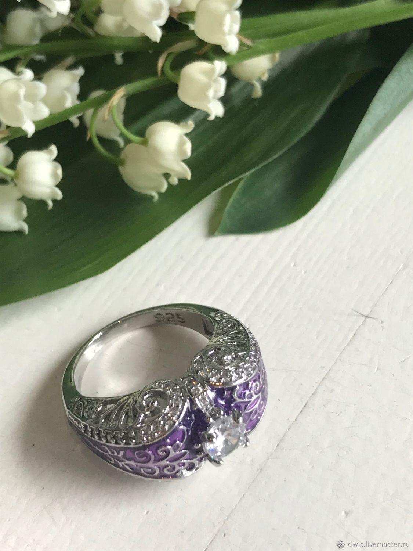 Ring 'Lilac fairy tale', zircon, 925 silver, Holland, Vintage ring, Arnhem,  Фото №1