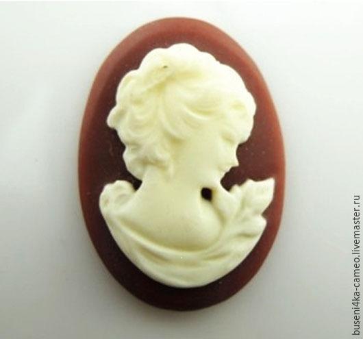 """Для украшений ручной работы. Ярмарка Мастеров - ручная работа. Купить Камея Дама """"молочный шоколад"""" 18х25мм (пластик) 1шт.. Handmade."""