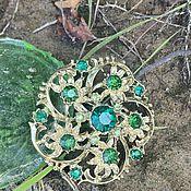Винтаж handmade. Livemaster - original item Van Gogh. Sunflowers, emeralds... Brooch of the mid-twentieth century.. Handmade.
