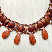 """Украшения handmade. Livemaster - original item """"Red necklace"""" made of wood - plum and bayong. Handmade."""