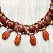 """Украшения ручной работы. Ярмарка Мастеров - ручная работа """"Рыжие бусы"""" из дерева - абрикоса и байонга. Handmade."""