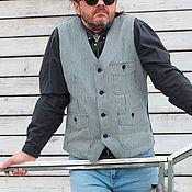 Одежда ручной работы. Ярмарка Мастеров - ручная работа Striptation 05 мужской джинсовый жилет. Handmade.