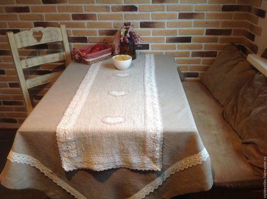 Текстиль, ковры ручной работы. Ярмарка Мастеров - ручная работа. Купить Комплект столового текстиля. Handmade. Серый, лен 100%