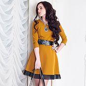 Одежда ручной работы. Ярмарка Мастеров - ручная работа Стильное горчичное платье с кожаным поясом. Handmade.