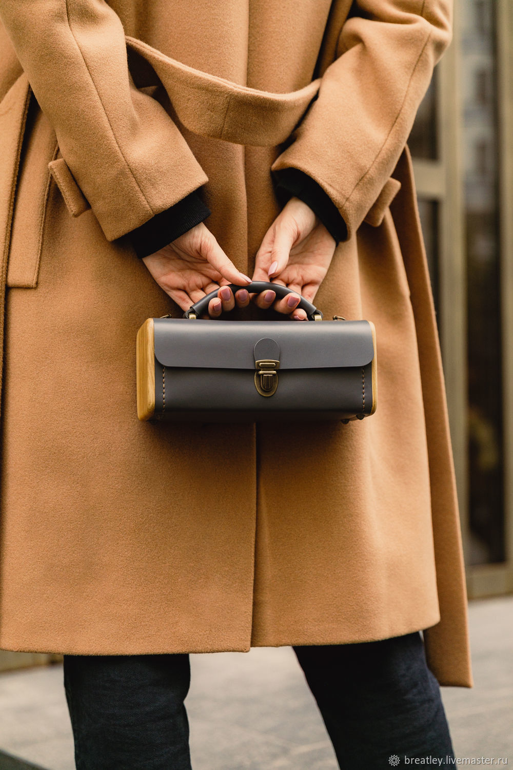 Small handbag made of genuine leather and wood LADIES ' STEP grey, Classic Bag, Moscow,  Фото №1