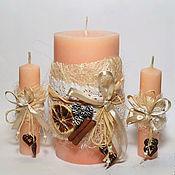 """Свадебный салон ручной работы. Ярмарка Мастеров - ручная работа Свадебные свечи """"Нежный апельсин"""". Handmade."""