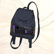 Сумки и аксессуары ручной работы. Ярмарка Мастеров - ручная работа рюкзак маленький, с кожаной вставкой. Handmade.
