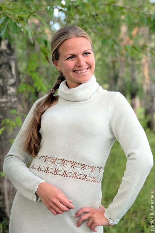 Платья ручной работы. Ярмарка Мастеров - ручная работа. Купить Платье длинное с ажурной вставкой светлый меланж. Handmade. Серый