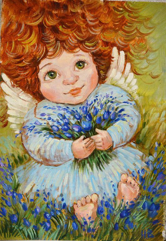 """Люди, ручной работы. Ярмарка Мастеров - ручная работа. Купить Картина маслом. """"Ангел с колокольчиками"""". Handmade. Оранжевый, ангел, колокольчик"""