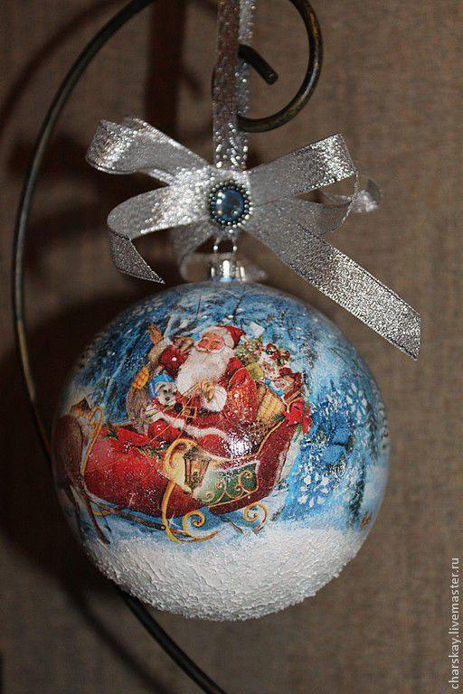 """Новый год 2017 ручной работы. Ярмарка Мастеров - ручная работа. Купить Новогодний шар """"Дед Мороз уже в пути..."""". Handmade."""
