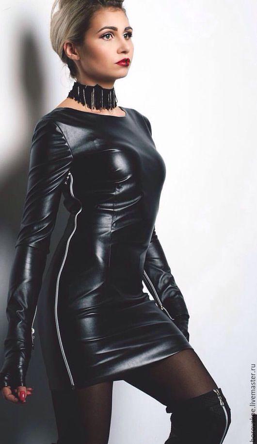 """Платья ручной работы. Ярмарка Мастеров - ручная работа. Купить Платье кожаное с замками """"Для смелых и уверенных"""". Handmade. Черный"""