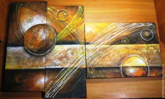 """Абстракция ручной работы. Ярмарка Мастеров - ручная работа. Купить Модульная картина """" Оранжевое золото планет"""". Handmade. Рыжий"""