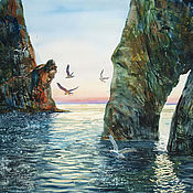 Картины и панно handmade. Livemaster - original item Watercolor painting at the Golden gate. Seascape.. Handmade.