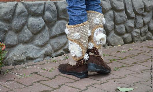 """Обувь ручной работы. Ярмарка Мастеров - ручная работа. Купить Вязаные сапожки """" Княгиня"""" зимние. Handmade. Коричневый, полиуретан"""