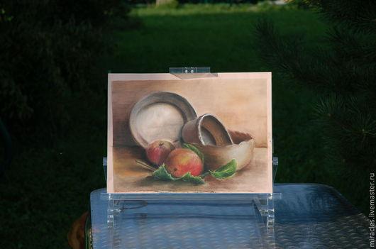 """Натюрморт ручной работы. Ярмарка Мастеров - ручная работа. Купить Картина пастелью """"Яблочный спас"""". Handmade. Бледно-розовый"""