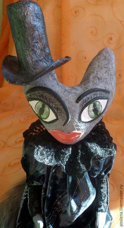 Коллекционные куклы ручной работы. Ярмарка Мастеров - ручная работа. Купить Готическая кукла-кошка. Handmade. Черный, Папье-маше