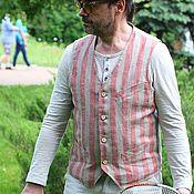 Одежда ручной работы. Ярмарка Мастеров - ручная работа Striptation 03 мужской льняной жилет. Handmade.