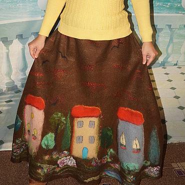"""Одежда ручной работы. Ярмарка Мастеров - ручная работа Юбка валяная  """"Городок в шоколаде"""". Handmade."""