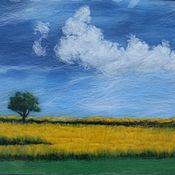 """Картины и панно ручной работы. Ярмарка Мастеров - ручная работа картина из шерсти """" Цветущее поле"""". Handmade."""